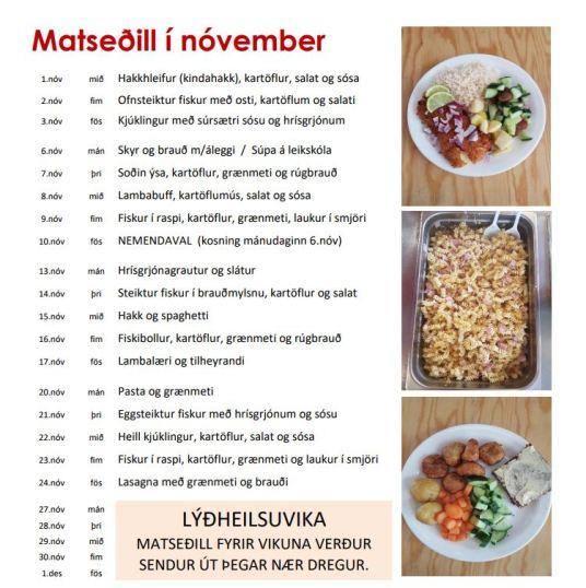 Matseðill fyrir nóvember 2017