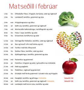 Matseðill febrúar 2018