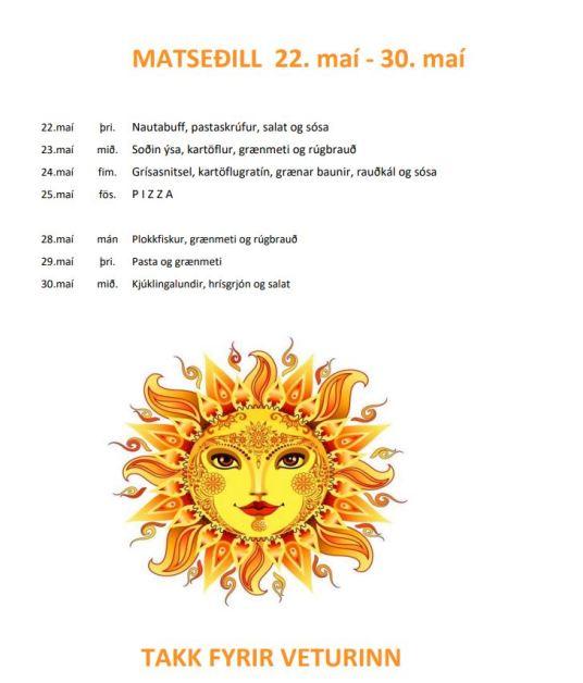 Matseðill fyrir sinnipart maí 2018