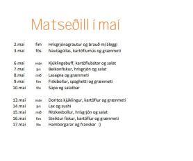 Matseðill í maí 2019